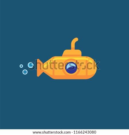 Yellow submarine underwater in