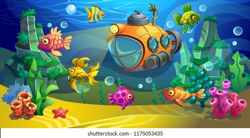 Yellow submarine underwater. Vector underwater landscape with fishes and seaweed. Sea bottom.
