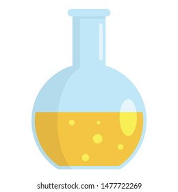 Yellow substance flask icon. Flat illustration of yellow substance flask vector icon for web design