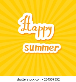 Yellow summer background. Happy summer! Vector illustration.