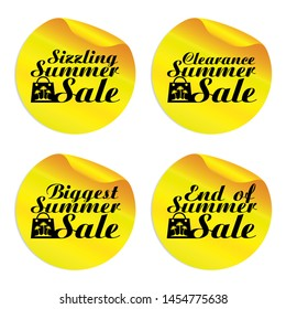 Yellow summer sale stickers sizzling,clearance,biggest,end of with shopping bag.Vector illustration
