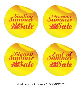 Yellow summer sale stickers sizzling,clearance,biggest,end of with sun symbol. Vector illustration