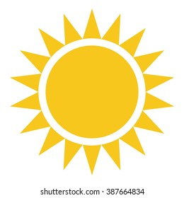 Yellow Sun burst icon isolated on background. Modern simple flat sunlight, sign. Business, internet concept. Trendy vector summer symbol for website design, web button, mobile app. Logo illustration.