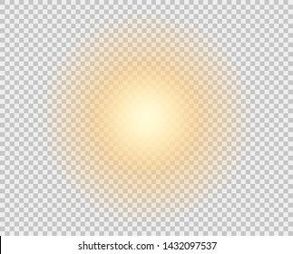 The yellow sun, a flash, a soft glow without departing rays. The vector element is isolated on a transparent background.