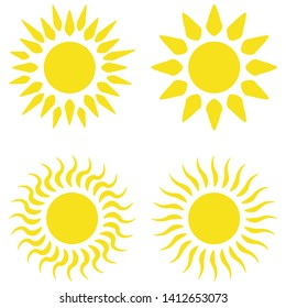 Yellow sun flat icons collection vector graphic design. Bright vector summer symbol for website design, mobile app. Accurate sun icons with rounded and twisted rays, beams isolated on white