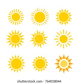 yellow sun flat vector icon set isolated on white background
