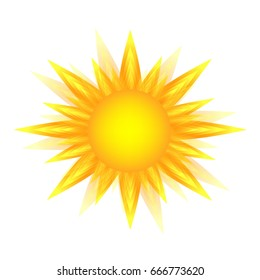 Yellow sun icon isolated on white background, sunlight, sign, summer symbol for website design, web button, mobile app.