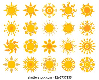 Yellow sun icon. Orange weather sunshine summer vector abstract symbols isolated