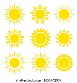 Yellow sun icon set 9 in 1