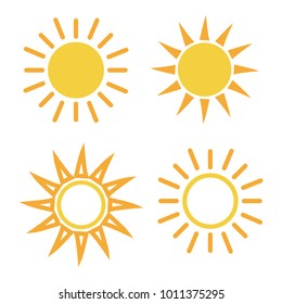 Yellow sun icon set in flat design isolated on white background. Vector illustration.
