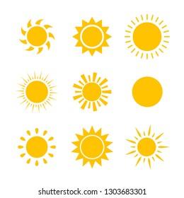 Yellow sun icon set isolated on white background. Modern simple flat sunlight, sign. Trendy vector summer symbol for website design, mobile app. Stock illustration
