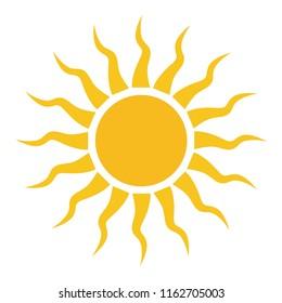 yellow sun icon, sunshine sun weather forecast icon, vector seasons sunny weather, sunny weather icon illustration