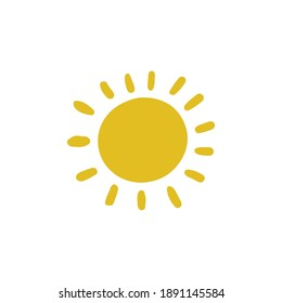 Yellow sun isolated on white background. Bright cartoon hand drawn illustration. Natural rays. Saving energy healthy lifestyle. Walking outdoor. Sunny weather forecast. Morning light happiness.
