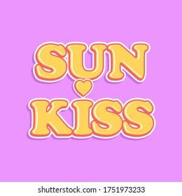 YELLOW SUN KISS RETRO TEXT WITH A HEART VECTOR, SLOGAN PRINT