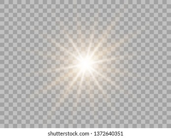 Yellow sun light, flash or bright star. Shimmering brilliance. Vector design element isolated on a transparent background.