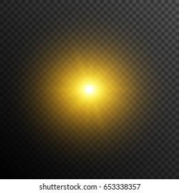 Yellow sun on transparent background. Rays of light. Sunrise or sunset.