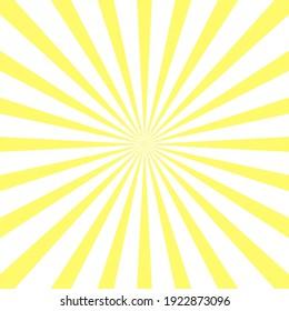 Yellow sun rays background. Retro sun