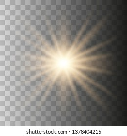 Yellow sun with rays and glow on transparent like background. Contains clipping mask. glow light. Vector illustration eps 10.