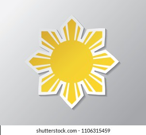 Yellow sun with rays. Republic of The Philippines flag.