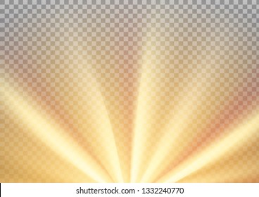 Yellow sun rays with warm orange flare, A4 size. Abstract glaring effect with transparency. Vector illustration
