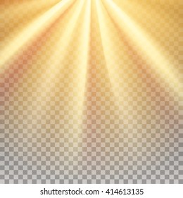 Yellow sun rays. Warm orange flare. Glaring effect with transparency. Sunshine rays. Abstract glowing light background. Graphic element for documents, templates, posters, flyers. Vector illustration