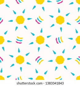 Yellow sun star cut out shapes. Vector pattern seamless background. Hand drawn matisse style collage graphic illustration. Trendy retro home decor, modern fashion prints, baby kid nursery wallpaper.