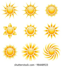 Yellow sun vector icons isolated on white background.