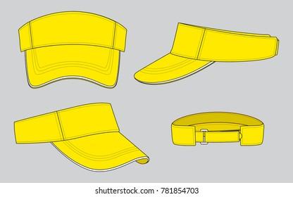 Yellow Sun Visor Cap Vector for Template