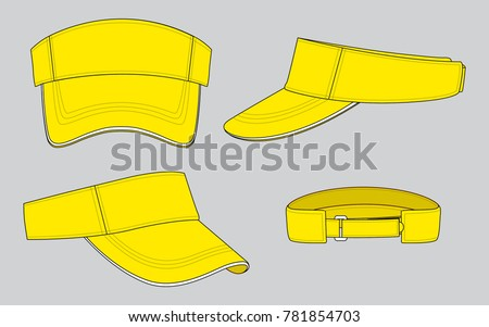 yellow sun visor caps template stock vector royalty free 781854703