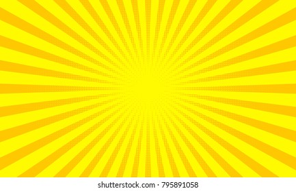 Yellow sunbeams or sun rays background with dots pop art design. Vector abstract background with dispersive, divergent halftone light beams