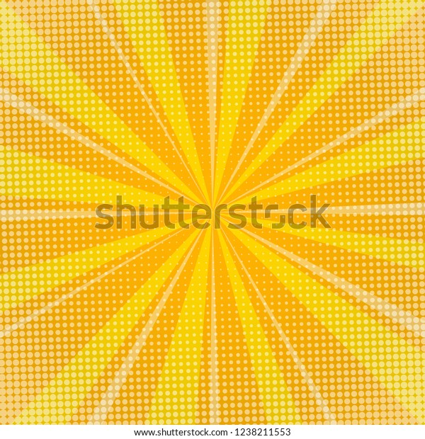 Yellow sunburst background with halftone dots