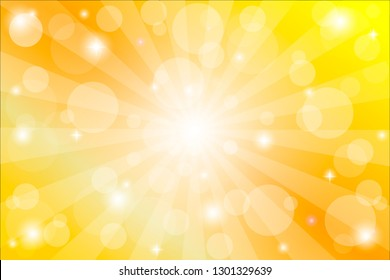 Yellow sunburst background with sparkles and rays, vector illustration.