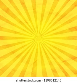 Yellow Sunburst Retro Background With Gradient Mesh, Vector Illustration