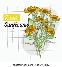 yellow sunflower illustration. vector illustration.
