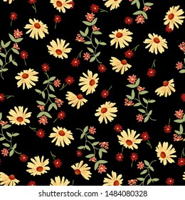 Yellow sunflower pattern. Hand drawn red, orange flowers, daisy with leaves. Perfect for autumn, fall, textile, fabric, decor. Seamless repeat tile swatch.