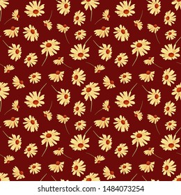 Yellow sunflower pattern with maroon or burgundy background. Perfect for autumn, fall, holidays, Thanksgiving, fabric, textile. Seamless repeat pattern swatch.