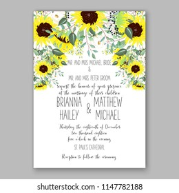 Yellow sunflower rustic greenery bouquet bride wedding invitation template design. Vector floral template background for party celebration bridal baby shower anniversary congratulation greeting card