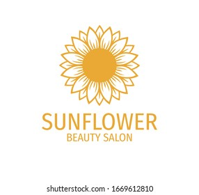 yellow sunflower vector logo design template concept in white background