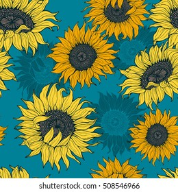 Yellow sunflowers on a blue background. Vector.