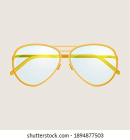 Yellow sunglasses isolated on a white background.