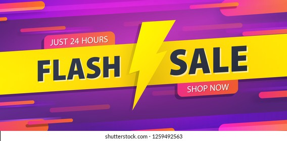 Yellow tag Flash sale 24 hour promotion website banner heading design on graphic purple background vector for banner or poster. Sale and Discounts Concept.