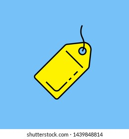 Yellow tag line icon. Retail price label symbol isolated on blue background. Online website meta tag sign. Vector illustration.