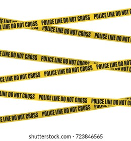 Yellow tape with police line do not cross text. Crime scene background. Template for your design. Vector illustration