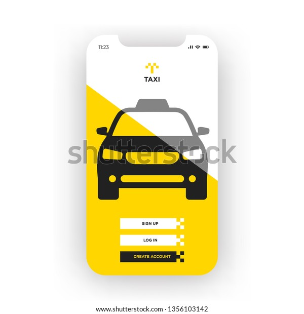 Yellow Taxi Booking Mobile App Smartphone Stock Vector