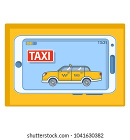 Yellow taxi cab icon.Mobile phone icon.Smartphone with mobile a application online service order car.Electronic digital device.Line art flat vector.
