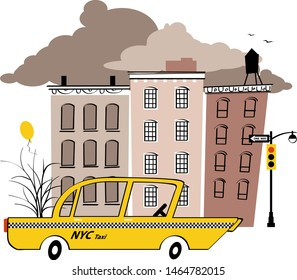 Yellow taxi cab in the typical New York street, EPS 8 vintage inspired vector illustration