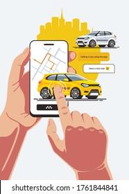Gelbes Taxi-Auto kommt bei einer Bestellung mit einer mobilen Anwendung auf einem Smartphone. Die Kabine bewegt sich mit einem Touch vom Bildschirm des Geräts zum gewünschten Punkt.