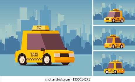 Yellow Taxi Car. Comic Cartoon Styled Side View Police Car on Blue Landscape Background. IsoFlat Styled Vector Illustration.