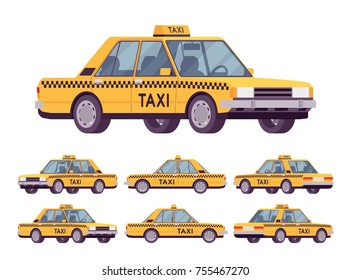 Yellow taxi car. Company serving cabs for residents, tourists and in the city with professional drivers and clean safe vehicles. Vector flat style cartoon illustration isolated on white background
