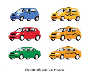 Yellow Taxi car. Taxi service automobile isolated on white background. Vector illustration